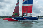 SailGP Team GBR  speed run on the Solent. Event 4 Season 1 SailGP event in Cowes, Isle of Wight, England, United Kingdom. 6 August 2019: Photo Chris Cameron for SailGP. Handout image supplied by SailGP