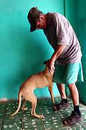 Man and dog in Gibara, Holguin, Cuba.