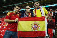 three Spanish fans look on before k/o. England v Spain, Football international friendly at Wembley Stadium in London on Tuesday 15th November 2016.<br /> pic by John Patrick Fletcher, Andrew Orchard sports photography.