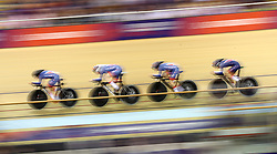 Great Britain cyclists during the Team Purusit Women's heat four race during day two of the 2018 European Championships at the Sir Chris Hoy Velodrome, Glasgow