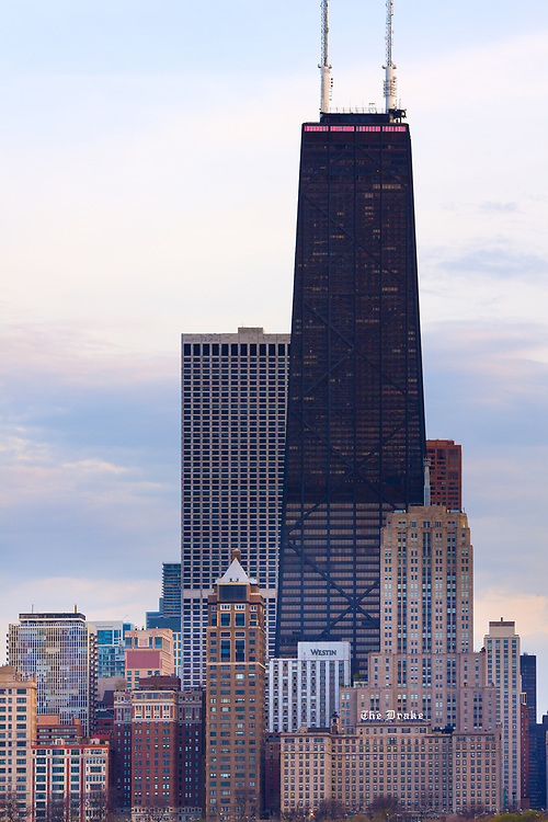 Chicago, Illinois, United States - Cityscape of downtown Chicago and the John Hancock Building.