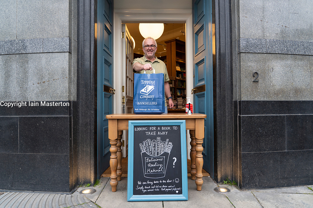 Edinburgh, Scotland, UK. 9 June 2020.  Topping and Company bookshop is offering a click-and-collect service for it's books, Customers can pick up purchases from the front door.  Iain Masterton/Alamy Live News