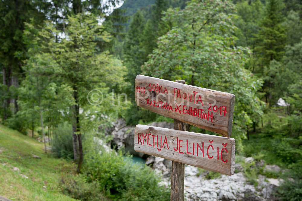 A signpost pointing to a WW1 wartime museum in the Triglavski Narodni Park, on 22nd June 2018, in Trenta, Triglav National Park, Slovenia.