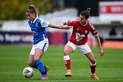Chloe Logarzo of Bristol City Women challenges 	Georgia Brougham of Birmingham City  - Mandatory by-line: Ryan Hiscott/JMP - 18/10/2020 - FOOTBALL - Twerton Park - Bath, England - Bristol City Women v Birmingham City Women - Barclays FA Women's Super League