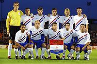 ek kwalificatie luxemburg - nederland 0-1  02-09-2006 elftalfoto achter: van der sar , heitinga , huntelaar , mathijsen , kuyt en ooijer. voor: landzaat de cler , schaars van persie en janssen