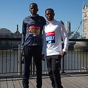 Guye Adola,Keninisa Bekele - Elite men photocall - Virgin Money London Marathon at Tower Hill on 19 April 2018, London, UK.
