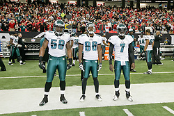 Philadelphia Eagles captains defensive end Trent Cole #58, wide receiver Reggie Brown #86, and quarterback Michael Vick #7 before the NFL game between the Philadelphia Eagles and the Atlanta Falcons on December 7th 2009. The Eagles won 34-7 at The Georgia Dome in Atlanta, Georgia. (Photo By Brian Garfinkel)
