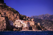 A view from the sea of Positano, on the beautiful Amalfi Coast of Italy