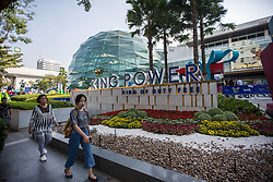 November 3, 2018 - Bangkok, Thailand - People seen walking front of the King Power logo at the King Power Headquarter in Central Bangkok. .Thai billionaire Vichai Srivaddhanaprabha, Chairman of King Power died in a helicopter crash among four other people in the Premier League side's stadium car park on October 27, 2018 in Leicester City in the United Kingdom. (Credit Image: © Guillaume Payen/SOPA Images via ZUMA Wire)