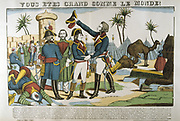 Battle of the Pyramids also called Battle of Embabeh, 21 July 1798.  French army in Egypt under Napoleon victorious against the Mamluks. Napoleon and General Kleber congratulating each other after their victory. Popular French hand-coloured woodcut.