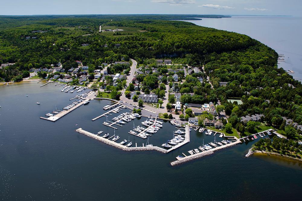 Aerial view of Fish Creek, Door County, Wisconsin.