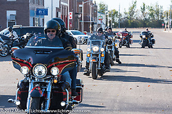 Heading out after a stop in Groton, SD for a flag raising ceremony during the USS South Dakota submarine flag relay across South Dakota. USA. Sunday October 8, 2017. Photography ©2017 Michael Lichter.