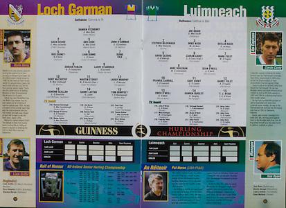 All Ireland Senior Hurling Championship - Final,.01.09.1996, 09.01.1996, 1st September 1996,.01091996AISHCF, .Wexford v Limerick,.Wexford 1-13, Limerick 0-14,..Wexford, 1 Damien Fitzhenry, Duffry Rovers, 2 Colm Kehoe, HWH Bunclody, 3 Ger Cush, Naomh Eanna, 4 John O'Connor, St Martins, 5 Rod Guiney, Rathnure, 6 Liam Dunne, Oulart The Ballagh, 7 Duine Eile, 8 Adrian Fenlon Rapparees, 9 Larry O'Gorman, Faythe Harriers, 10 Rory McCarthy, St Martins, 11 Martin Storey, Oulart The Ballagh, 12 Larry Murphy, Cloughbawn, 13 Eamonn Scallan, Liam Mellowes, Castletown, 14 Garry Laffan, Glynn Barntown, 15 Tom Dempsey, Buffers Alley, subs, Seamus Kavanagh, George O'Connor, Shane Carley, Jim Byrne, Declan Ruth, Billy Byrne, Paul Finn, Tommy Kehoe, Dave Guiney, ..Limerick, 1 Joe Quaid, Feohanagh, 2 Stephen McDonagh, Bruree, 3 Mike Nash, South Liberties, 4 Declan Nash, South LIberties, 5 David Clarke, Kilmallock, 6 Ciaran Carey, Patrickswell, 7 Mark Foley, Adare, 8 Mike Houlihan, Kilmallock, 9 Sean O'Neill, Murroe Boher, 10 Frankie Carroll, Garryspillane, 11 Gary Kirby, Patrickswell, 12 Barry Foley, Patrickswell, 13 Owen O'Neill, Murroe Boher, 14 Damien Quigley, Na Piarsaigh, 15 T J Ryan, Garryspillane, subs, John O'Brien, Mike Galligan, Padraig Tobin, Turlough Herbert, Shane O'Neill, John Flavin, Brian Tobin, John Foley, John Kiely,