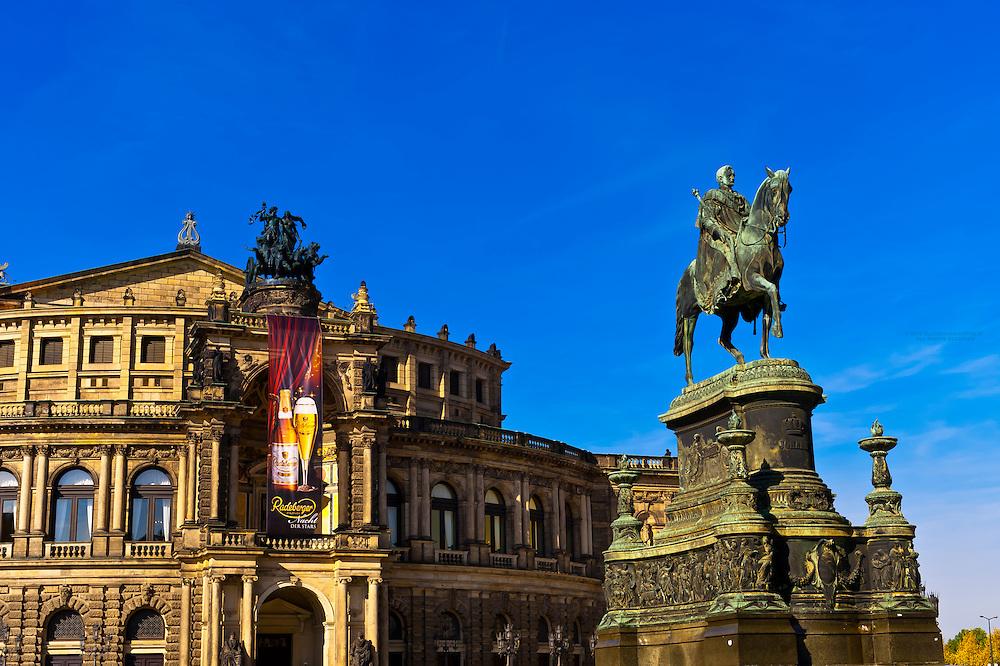 King Johann monument and the Semper Opera House, Theaterplatz, Dresden, Saxony, Germany