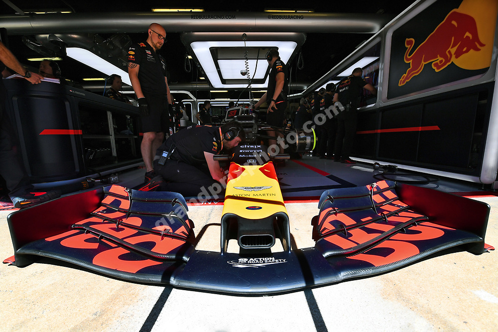Max Verstappen (Red Bull-Honda) in the pits during practice for the 2019 Spanish Grand Prix at the Circuit de Barcelona-Catalunya. Photo: Grand Prix Photo