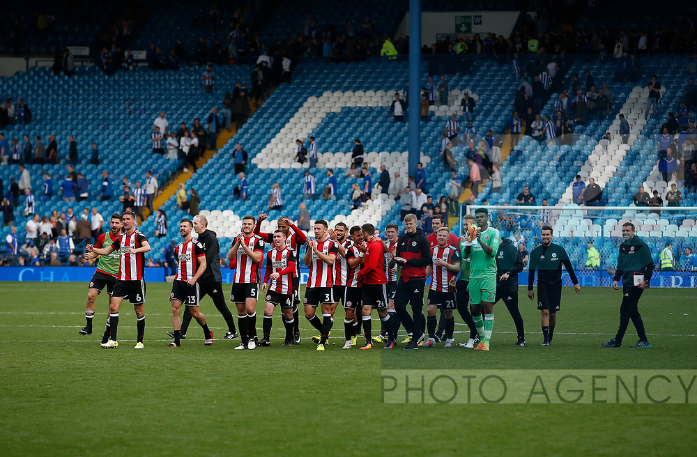 Sheffield Utd Players and staff celebrate the win during the Championship match at the Hillsborough Stadium, Sheffield. Picture date 24th September 2017. Picture credit should read: Simon Bellis/Sportimage