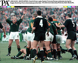 JNB 24.6.95 : SOUTH AFRICA :South African rugby Captain Francois Pienaar celebrates during the  Rugby World Cup Final Johannesburg's Ellis Park this afternoon (Saturday).Photo by Adam Butler/PA.