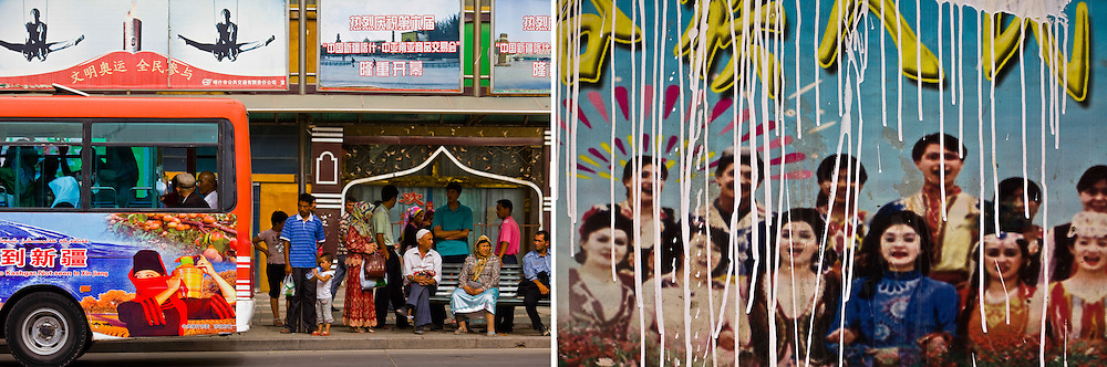RIGHT: A propaganda sign that encourages ethnic unity in Kashgar, Xinjiang, China.<br /> <br /> LEFT: People wait for bus in Kashgar, Xinjiang, China.