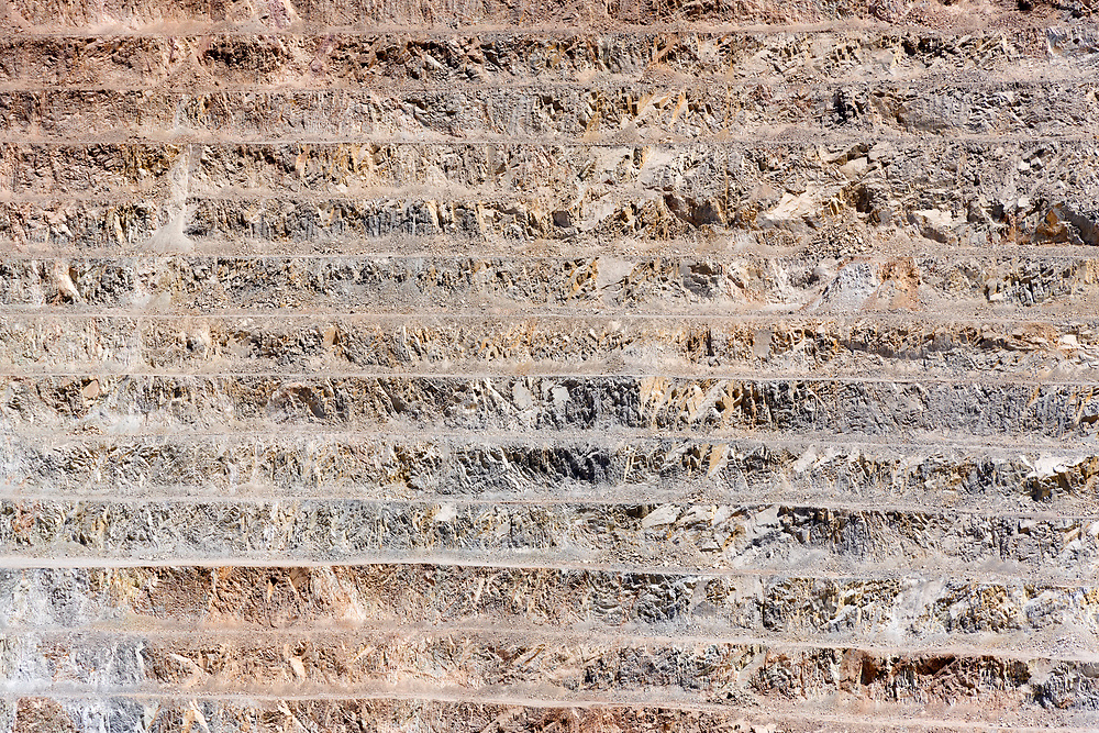 Close-up detail of the pit of an open-pit copper mine