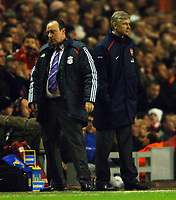 Photo: Paul Greenwood.<br />Liverpool v Arsenal. The FA Cup. 06/01/2007. Rafael Benitez, left and Arsene Wenger