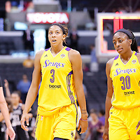 22 June 2014: forward/center Candace Parker (3) of the Los Angeles Sparks looks dejected next to forward Nneka Ogwumike (30) of the Los Angeles Sparks during the San Antonio Stars 72-69 victory over the Los Angeles Sparks, at the Staples Center, Los Angeles, California, USA.
