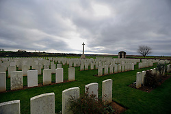 08 November 2020. Ovillers Cemetery, The Somme, Ovillers, France.<br /> Just across the valley from Lochnagar Crater lie the remains of 3,440 Commonwealth servicemen of the First World War buried or commemorated in the cemetery. 2,480 of the burials are unidentified. The cemetery also contains the graves of 120 fallen French servicemen. Many of the casualties occured the first day of the Battle off the Somme, July 1st 1916 when British troops attempted to take the towns of ovillers and la Boisselle after detonating an enormous mine at Lochnagar. Heavily fortified German positions annihilated the British advance leaving in excess of 6,000 casualties on the first day of the battle of the Somme. In total there were over 1 million casualties during the battle with over 60,000 casualties on July 1st 1916.<br /> Photo©; Charlie Varley/varleypix.com