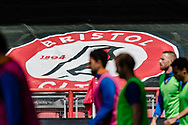 Sheffield Wednesday players warm up infant of giant Bristol City flag during the EFL Sky Bet Championship match between Bristol City and Sheffield Wednesday at Ashton Gate, Bristol, England on 28 June 2020.