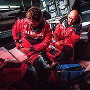 Leg 7 from Auckland to Itajai, day 08 on board MAPFRE, Xabi Fernandez and Antonio Cuervas-Mons getting the material ready to go up to the mast. 24 March, 2018.