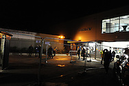 supporters arrive before match. FA cup with Budweiser, 1st round replay, Newport county v Braintree Town at Rodney Parade in Newport, South Wales on Tuesday 19th November 2013. pic by Andrew Orchard, Andrew Orchard sports photography,