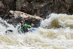 Kayaker taking on the big water of the North Payette River near Boise Idaho