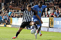 Darren Stephenson during the FA Cup fixture between Stockport County and Corby Town at Edgeley Park on 6 October 2018 / James Gill Media