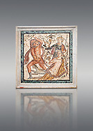Roman Mosaic of  Lycurgus and Ambrosia the presence of Dionysus from Herculaneum, Naples Archaeological Museum, Italy.<br /> <br /> If you prefer to buy from our ALAMY PHOTO LIBRARY  Collection visit : https://www.alamy.com/portfolio/paul-williams-funkystock/roman-mosaic.html - Type -   Naples    - into the LOWER SEARCH WITHIN GALLERY box. Refine search by adding background colour, place, museum etc<br /> <br /> Visit our ROMAN MOSAIC PHOTO COLLECTIONS for more photos to download  as wall art prints https://funkystock.photoshelter.com/gallery-collection/Roman-Mosaics-Art-Pictures-Images/C0000LcfNel7FpLI