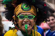 Fans in celebratory mood inside the Maracana stadium during the final of the Confederations cup between Brazil and Spain, Rio de Janeiro.