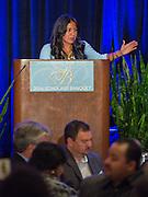 Diana Davila comments during the Scholars banquet, April 12, 2016.