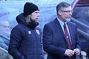 Austin McPhee and Craig Levein during the William Hill Scottish Cup 4th round match between Heart of Midlothian and Hibernian at Tynecastle Stadium, Gorgie, Scotland on 21 January 2018. Photo by Kevin Murray.