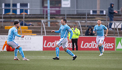 Forfar Athletic's Dale Hilson celebrates after scoring their first goal. Forfar Athletic 3 v 0 East Fife, Scottish Football League Division One game played 2/3/2019 at Forfar Athletic's home ground, Station Park, Forfar.
