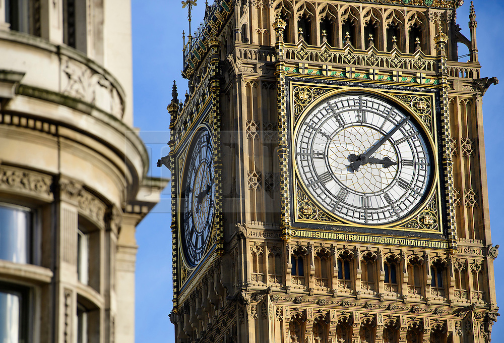 © Licensed to London News Pictures. 04/02/2017. London, UK. The clock face of the Elizabeth Clocktower, more commonly known as Big Ben, on the Houses of Parliament in Westminster, London. Photo credit: Ben Cawthra/LNP