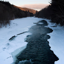Early morning on the frozen West River in Jamaica, Vermont.