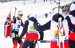 March 16, 2019 - –Stersund, Sweden - 190316 Johannes Thingnes Bø of Norway celebrate with teammates after the the Men's 4x7,5 km Relay during the IBU World Championships Biathlon on March 16, 2019 in Östersund..Photo: Petter Arvidson / BILDBYRÃ…N / kod PA / 92269 (Credit Image: © Petter Arvidson/Bildbyran via ZUMA Press)