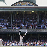 Indian batsman Sachin Tendulkar celebrates his century in front of the packed Sydney Cricket Ground members stand during the Australia V India test match.   040108 Tim Clayton