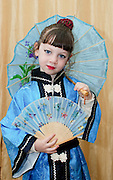 Young girl of 5 dressed up as a Chinese for the Jewish celebration of Purim