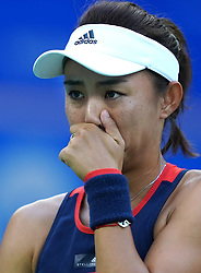 WUHAN, Sept. 28, 2018  Wang Qiang of China reacts during the singles semifinal match against Anett Kontaveit of Estonia at the 2018 WTA Wuhan Open tennis tournament in Wuhan, central China's Hubei Province, on Sept. 28, 2018. Anett Kontaveit advanced to the final after Wang Qiang withdrew due to injury. (Credit Image: © Cheng Min/Xinhua via ZUMA Wire)