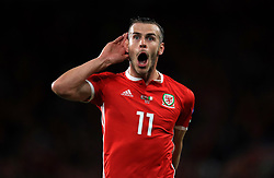 Wales' Gareth Bale celebrates scoring his side's second goal of the game during the League B, Group four match at Cardiff City Stadium. PRESS ASSOCIATION Photo. Picture date: Thursday September 6, 2018. See PA story SOCCER Wales. Photo credit should read: Mike Egerton/PA Wire. RESTRICTIONS: Editorial use only, No commercial use without prior permission.