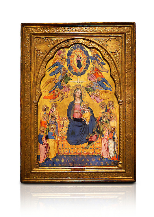 Gothic altarpiece of Madonna Of Humility With The Eternal Father In Glory, by Cenni di Francesco di Ser Cenni of Florence, circa 1375-80, tempera and gold leaf on wood. The Madonna and Child are depicted with the 12 apostles. National Museum of Catalan Art, Barcelona, Spain, inv no: MNAC  212805. Against a white background. . .<br /> <br /> If you prefer you can also buy from our ALAMY PHOTO LIBRARY  Collection visit : https://www.alamy.com/portfolio/paul-williams-funkystock/gothic-art-antiquities.html  Type -     MANAC    - into the LOWER SEARCH WITHIN GALLERY box. Refine search by adding background colour, place, museum etc<br /> <br /> Visit our MEDIEVAL GOTHIC ART PHOTO COLLECTIONS for more   photos  to download or buy as prints https://funkystock.photoshelter.com/gallery-collection/Medieval-Gothic-Art-Antiquities-Historic-Sites-Pictures-Images-of/C0000gZ8POl_DCqE