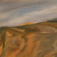 Cliffs of Montaña de Oro. Plein air oil sketch, 9 x 12.
