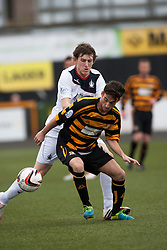 Falkirk's Blair Alston and Alloa Athletic's Kevin Cawley.<br /> Half time : Alloa Athletic 0 v 0 Falkirk, Scottish Championship 12/10/2013. played at Recreation Park, Alloa.<br /> ©Michael Schofield.