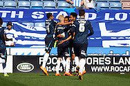 Thomas Ince of Derby County (centre) celebrates with his teammates after scoring his teams 1st goal.Skybet football league championship match, Huddersfield Town v Derby county at the John Smith's stadium in Huddersfield, Yorkshire on Saturday 18th April 2015.<br /> pic by Chris Stading, Andrew Orchard sports photography.