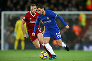 Eden Hazard of Chelsea gets away from Jordan Henderson of Liverpool. Premier League match, Liverpool v Chelsea at the Anfield stadium in Liverpool, Merseyside on Saturday 25th November 2017.<br /> pic by Chris Stading, Andrew Orchard sports photography.
