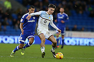 Jack Grealish of Aston Villa is challenged by Lee Peltier of Cardiff city (l) . EFL Skybet championship match, Cardiff city v Aston Villa at the Cardiff City Stadium in Cardiff, South Wales on Monday 2nd January 2017.<br /> pic by Andrew Orchard, Andrew Orchard sports photography.