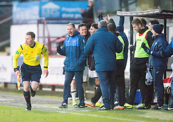 Dunfermline's manager Allan Johnston at the end. <br /> Dunfermline 3 v 2 Ayr United, Scottish League One played at East End Park, 13/2/2016.